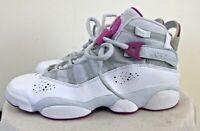 Girls Air Jordan 6 Rings Platinum Fuchsia Sz. 5.5Y Basketball Shoes