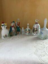 Lot of 7 Porcelain Ceramic Bells Souvenir, Clowns Butterflies September Snowman