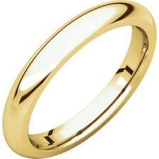 3mm 18K Solid Yellow Gold Plain Dome Half Round Comfort Fit Wedding Band Ring