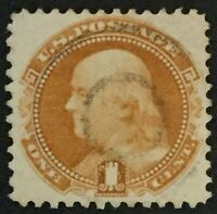 #112 Used, XF+ Well Centered 1869 1c Franklin Pictorial w/Light Target Cancel