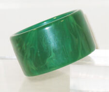 Vintage Bakelite Bracelet Bangle rare emerald green marble extra wide shape