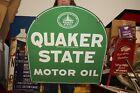 Large+Vintage+1956+Quaker+State+Motor+Oil+Gas+Station+2+Sided+29%22+Metal+Sign