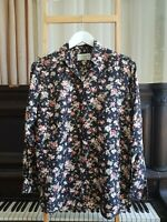 Vintage COUNTRY COLLECTION Silk Floral Print Button Down Blouse Size 10 S EUC