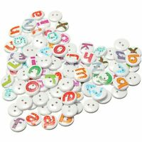 100Pcs Mixed Painted Letter Alphabet Wooden Sewing Button Scrapbooking TS