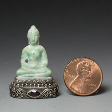 Chinese Jade Buddha Pedestal with Garnet, Sterling Silver Base