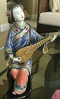 VINTAGE CHINESE SHIWAN PORCELAIN FIGURINE -BEAUTY WITH LUTE