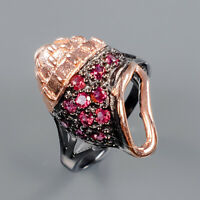 Rhodolite Ring Silver 925 Sterling Jewelry Unique Design Size 7 /R139429