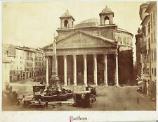 View of the Pantheon, Rome, Italy. Original 1880s albumen photograph