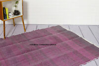 LARGE CHINDI RAG RUG HAND LOOMED INDIAN FAIR TRADE RECYCLED WOVEN MAT VIOLET RUG