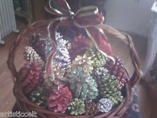 Year Round BASKET O' PINE CONES Beautiful Modern Colors USA-Made
