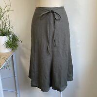 Black Line Size 12 Khaki Linen Skirt Just Below Knee Length Waist Tie