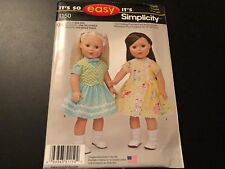 "Simplicity Pattern 1150 EASY 18"" Doll Clothes ~ Dress & Skirt/Blouse/Vest"