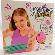 Girls designer Nail Art Set with nail dryer stencils for glitter art