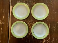 Vintage Pyrex Lime Green With Gold Trim 6.75 Inch Dessert Plate Set Of 4 X
