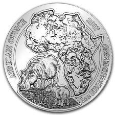 1oz Rwanda Hippo Wildlife Series Coin, 999 fine silver, 2017