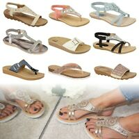 Sandals Ladies Girls Slip On Ankle Strap Wedge Diamanté Espadrilles Flat Comfort