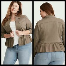 NWT Torrid Womens Plus Size 1 1X XL Stretch Twill Peplum Military Jacket (24-5)