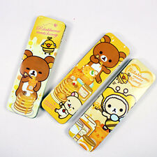 Cute Rilakkuma Bear Yellow Slim Tin Metal Pencil Case Pen Box School Supplies