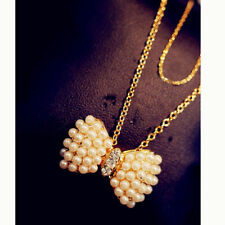Pearl Bow Crystal Vintage Long Pendant Chain Necklace Fashion Kawaii
