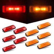 """10x 4"""" Led Rectangular Clearance Side Marker Light Amber/Red Trailer Truck Light"""