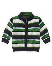 NWT 3-6 gymboree TRACTOR GEAR green zip-up stripe cotton SWEATER~RARE HTF!