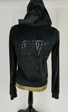 Victorias Secret PINK velour Black zip up Hoodie Small BLING