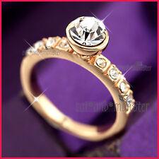 18K ROSE GOLD GF LADY GIRLS  2CT SOLITAIRE BEZEL CRYSTAL WEDDING DRESS RING GIFT