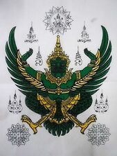 Talisman Cloth Garuda Yantra Magic LP Fu Power Protection Thai Buddha Amulet