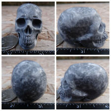 "2.1"" Chinese Crazy Lace Skull Carved Stone 3.5oz 99.7g Crystal Healing Realistic"