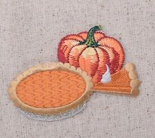 Thanksgiving Pumpkin Pie and Slice/Food/Feast Iron on Applique/Embroidered Patch