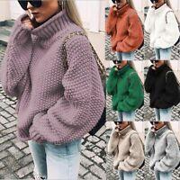 Women Turtleneck Sweater Chunky Knitted Baggy Oversize Sweatshirt Jumper Tops *1