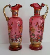 Antique  Victorian Cranberry  Glass Floral ENAMELED Gold Accent EWER PITCHER x 2