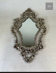 Vintage Ornate Wall Hanging wooden carved silver Mirror