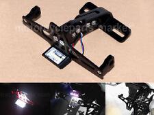 Motorcycle Fender Eliminator License Plate CNC Holder Bracket LED Light Black