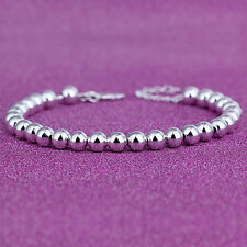 Women 925 Sterling Silver Beads Smooth Chain Bangle Charm Bracelet Fashion TB