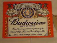 BUDWEISER LARGE METAL PICTURE PLAQUE SIGN   /PUB/BAR/TIN/BEER/BLUE/DRINK/ALE