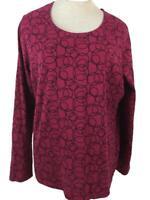 Kim Rogers knit top size XL long sleeve red black circles womens