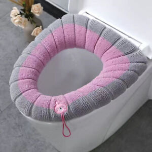 1pc Elongated Toilet Seat Cover Closestool Lid Pad Soft Warmer Mat Thick Cushion