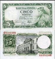 SPAIN 5 PESETAS 1954 P 146 aUNC