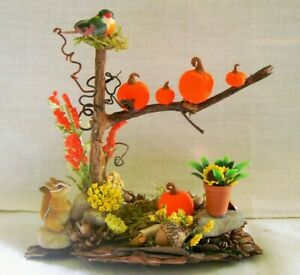 Fairy Garden PUMPKINS in TREE on Bark/FALL Flowers, CHIPMUNK, BIRD  Halloween