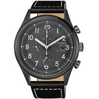 Citizen Eco-Drive Men's Chronograph Black Leather Strap 45mm Watch CA0627-09H
