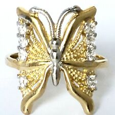 14k yellow white gold butterfly ring size 7