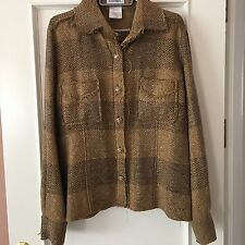 "CHANEL 07A Marrone / Oro Threads ""Camicia"" Blazer FR 42 UK 12-14"