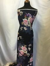 "NEW Navy Floral Crinkle Chiffon Print Fabric 60"" 156cm Dress Scarf Craft Art Sew"