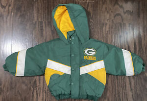 Vintage 90s Green Bay Packers NFL Football Hooded Puffer Jacket Youth Size 4 Vtg