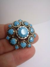 VINTAGE TURQUOISE BROOCH FACETED GLASS STONE WEDDING PARTY PROM FESTIVAL