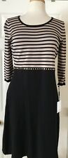 $118 NWT Womens Calvin Klein Beaded Knit Sheath 3/4 Sleeve Striped Dress Black M