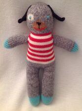 """BLABLA Andiamo the Dog Gray Red White Striped Knit Mini 12"""" Peru Cotton LN $48"""