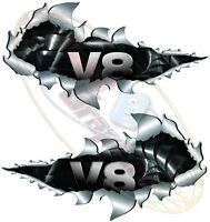 Pair 213mm Land Rover V8 4x4 Off Road Metal Rip Open Torn Sticker Truck Car Van