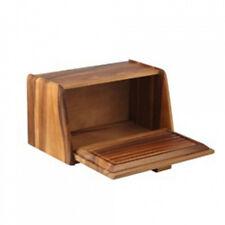 NEW Davis & Waddell Acacia Wood Bread Box Bin With Bread Board